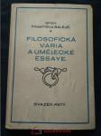 Filosofická varia a umělecké essaye (pv, 112 s., EL) - náhled