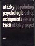 Otázky psychologie schopností žáků - náhled