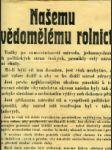 Našemu uvědomělému rolnictvu! ... Okresní výbor ve Vyokém nad Jizerou, dne 20. září 1918. Okresní starosta: Schröter v. r. - náhled